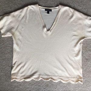 JCrew Short Sleeve Wool Sweater w/Scalloped Bottom